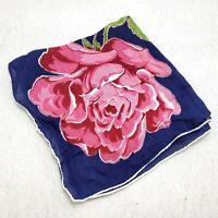Vintage Large Pink Rose Handkerchief Floral Blue Square Rolled Hem Hankie