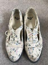 Dr Marten ladies denim shoes floral size 7 lace up cut away sides