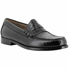 G.H. Bass & Co. Weejuns Larson Brogue Black Mens Leather Slip-On Loafer Shoes
