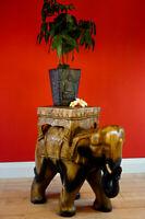 Beistelltisch Elefant Massivholz Blumentisch Dekoration Holz Tisch Pflanzsäule