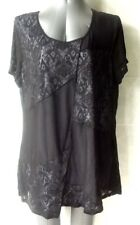 Black Top with Panels of Embossed Fabric, Short Sleeves, Plus Size 20 NWOT