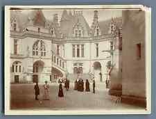 France, Cour du Château de Pierrefonds  Vintage citrate print. Oise Tirage cit
