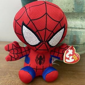 "TY Beanie Baby 6"" SPIDER-MAN Spiderman (Marvel) Plush Stuffed Animal Toy MWMTs"
