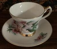 Society Fine Bone China  England -- Tea Cup & Saucer Pink Rose Floral Design