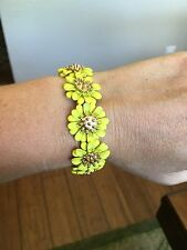 Vintage Metal Enamel Yellow Flower BRACELET Elastic Band Gold Jewelry Daisy