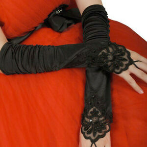 Women Gothic Lace Fingerless  Long Gloves Elastic Embroidered Party Cosplay *j