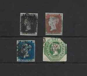GB- 4 x EARLY VICTORIA  STAMPS INC   PENNY BLACK / PENNY RED/ TWO PENNY BLUE