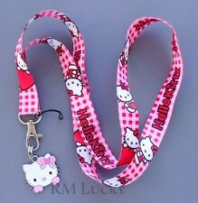 Neck Lanyard Keychain ID Cell phone Holder Strap w/ Dangle charm Hello Kitty A3