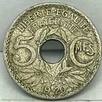 FRANCE, Lindauer, 5 Centimes, 1920, KM #875,  Copper-Nickel Coin.