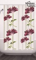 EXTRA LONG BATHROOM SHOWER CURTAIN WATERPROOF FABRIC INC 12 HOOKS 180/200CM UK