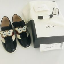 Gucci Falacer Butterfly Black patent leather sneaker IT 36 US 6 New $980