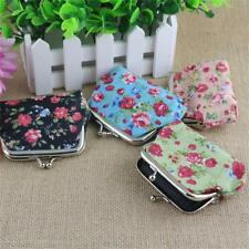 Floral Hasp Key Bag Coin Purses Wallet Print Flowers