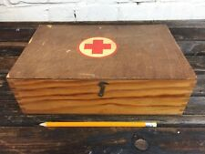 Vintage 1961 First Aid Kit Wooden Box Made in Germany Storage with Contains