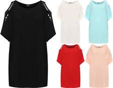 T-shirt, maglie e camicie da donna a manica lunga multicolore con girocollo
