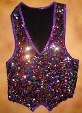 NWT Sequin Pullover Dance Costume Vest Purple Foil Trim Medium Child