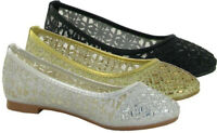 New Women's Diamante Bridal Ladies Sparkly Bridesmaid Ballerina Pumps Shoes Size