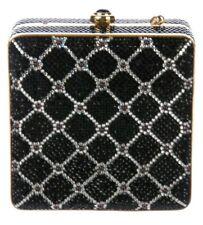 Judith Leiber Cigar Box Crystal Rhine Garnet Gold Minaudière Evening Bag Vintage