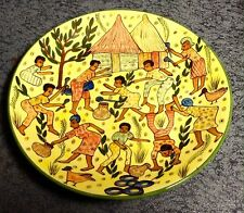 """9.5"""" Hand Painted Story Plates From Zimbabwe Rare!!!!! Set Of 2 African Art"""