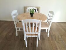 Brand New  5pcs white Solid Timber 1m Round Drop-off dining table &  chair sets