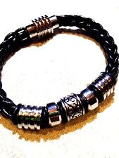 Mens Stainless Steel Black Leather Gothic Bracelet