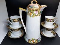 Hand painted Nippon Chocolate pot & 4 cups & saucers. Great vintage condition