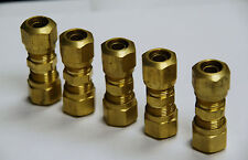 """Brass Fittings: DOT Air Brake Union Compression Fitting, Tube OD 1/2"""", Qty. 5"""