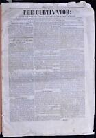 1838 Cultivator Newspaper Pre Civil War Albany NY Farming Agriculture Americana