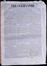 1838 Cultivator Newspaper Pre Civil War Albany NY Farming Agriculture Americana