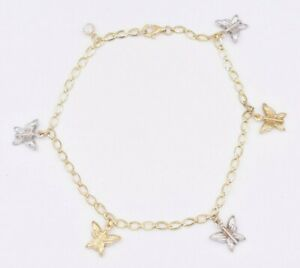 """Butterfly Two-Tone Charm Anklet Chain Real 10K Yellow White Gold 10"""""""