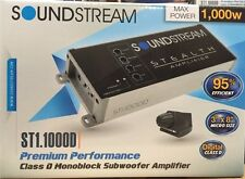 Soundstream Stealth ST1.1000D 1000 Watt Compact Mono Class D Audio Amplifier