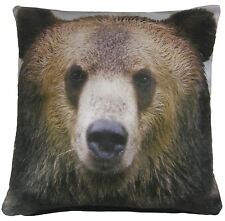 """Brown GRIZZLY velours oreiller coussin couverture 17 """" - 43 cm"""