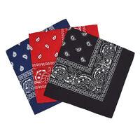 Set de 3 bandanas Paisley Homme et Femme 57 x 57 cm Noir+rouge+bleu marine S6E7
