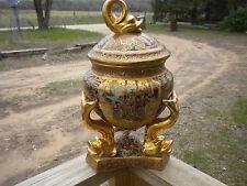 Vintage 2 Handled Lidded  Moriage Satsuma Urn W/Gold Gilt Accents