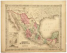 1865 Johnson Map of Mexico Hand Colored   ***** Original *******