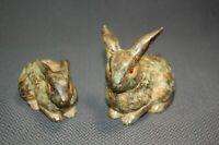 2PC Vintage Spotted Stoneware Rabbit Bunny Figurines Japan