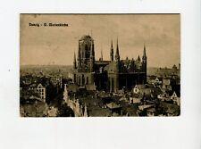 AK Danzig St Marienkirche gelaufen 1928 Freie Stadt Danzig Briefmarke 10 Pfennig