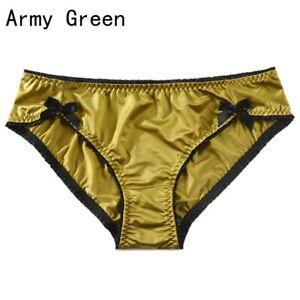 Women Satin Briefs Panties Underwear Sex Lingerie Bow Frilly Silky Lolita Cute