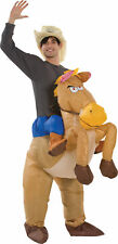 Riding on Horse Inflatable Adult Costume Gemmy Funny Mascot Animal Halloween