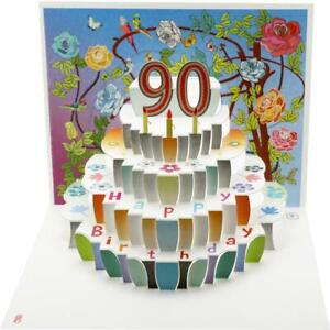 Forever Cards Pop Up Birthday Card 90th Birthday Floral