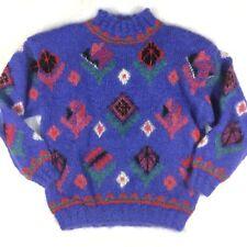 Icelandic Design Womens M/L Handknit Sweater Geometric Mohair Wool Blend Purple