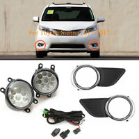 Bumper Fog Lights Driving Lamps+Switch+Wiring For 2011-2017 Toyota Sienna Clear