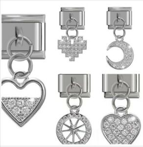 Hearts Moon Wheel Sparkle charms-Fits Nomination 9mm bracelet - Free Pouch nc160