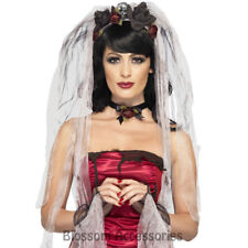 A778 Gothic Bride Kit Skull Veil Choker Gloves Dead Dracula Costume Accessory