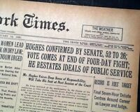 CHARLES EVANS HUGHES Chief Justice of the United States CONFIRMED 1930 Newspaper
