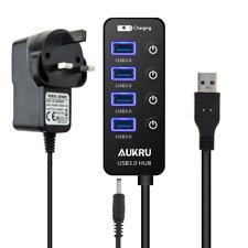 Aukru USB 3.0 Hub 4 Port High Speed Data Transfer with On Off Switchs + DC 5V Po