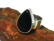 BLACK  ONYX    Sterling  Silver  925  Gemstone  RING   -  Size:  S