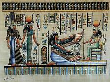 NEW HAND PAINTED EGYPTIAN ART ON PAPYRUS: Nefertari, Hathor, Ma'at and Isis A06
