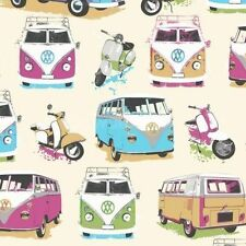 Muriva Camper Van Moped Scooter Heavy Weight Wallpaper Wallcovering Multi Colo