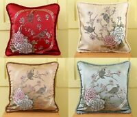 """18"""" x 18"""" Jacquard Cushion Covers with BIRD Design  Filled Scatter Pillows Sofa"""