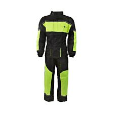 Black 100% Waterproof Hi Viz Two 2 Piece Rain Suit Motorcycle Motorbike Oversuit